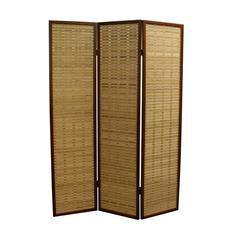"""70.25""""H Bamboo 3 Panel Room Divider - Walnut"""
