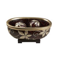 8.25 In Folius Floral Foliage Decorative Bowl W/ Spheres