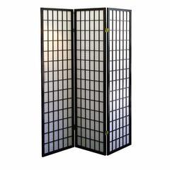 3-Panel Room Divider - Black