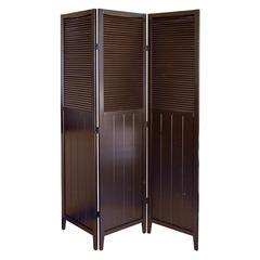 Shutter Door 3-Panel Room Divider - Espresso