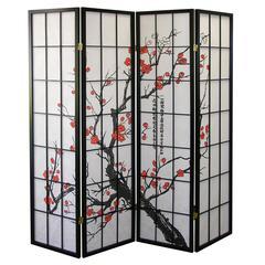4-Panel Room Divider - Plum Blossom