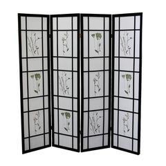 4 Panel Shoji Screen - Black