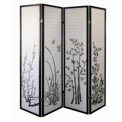 4-Panel Room Divider - Floral