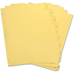 """Sparco Clear Plastic Numbered Tab Indexes - 10 Printed Tab(s) - Digit - 8.50"""" Divider Width x 11"""" Divider Length - Letter - 3 Hole Punched - Buff Paper Divider - Buff Plastic Tab(s) - 1 / Set"""