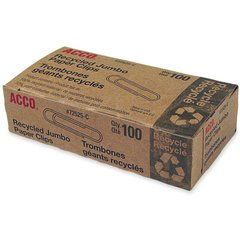 ACCO® Recycled Paper Clips, Smooth Finish, Jumbo Size, 100/Box - Jumbo - 20 Sheet Capacity - Reusable, Durable - 1000 / Pack - Silver - Metal