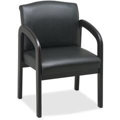 "Lorell Deluxe Faux Guest Chair - Faux Leather Black Seat - Wood Espresso Frame - 23"" Width x 25.5"" Depth x 33.5"" Height"