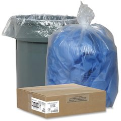 """Nature Saver Recycled Trash Can Liners - Medium Size - 33 gal - 33"""" Width x 39"""" Length x 1.25 mil (32 Micron) Thickness - Low Density - Clear - 100/Carton - Pilferage Control"""