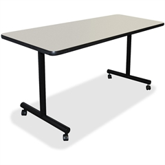 """Lorell Training Table Top - Rectangle Top - 24"""" Table Top Length x 48"""" Table Top Width x 1.25"""" Table Top Thickness - Assembly Required - Light Gray Top - Laminated Top - Vinyl, Particleboard"""