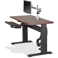 "Lorell Height-adjustable Workstation Tabletop - Mahogany - 24"" Table Top Length x 48"" Table Top Width x 1"" Table Top Thickness - Assembly Required - Laminated, Mahogany"