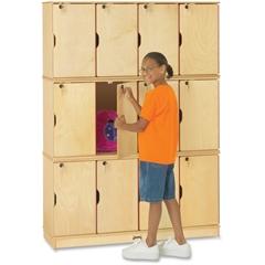"""Jonti-Craft Triple Stack 12-Sectn Student Lockers - 48.5"""" x 15"""" x 67"""" - Stackable, Lockable, Sturdy, Key Lock, Kick Plate - Wood Grain - Baltic Birch Plywood"""