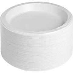 """Reusable Plastic White Plates - 125 / Pack - 9"""" Diameter Plate - Plastic - Serving - Disposable - White - 500 Piece(s) / Carton"""