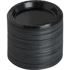 """Reusable Plastic Black Plates - 125 / Pack - 6"""" Diameter Plate - Plastic - Serving - Disposable - Black - 1000 Piece(s) / Carton"""