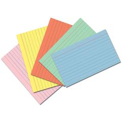 Pacon Index Cards - Ruled - Pink, Blue, Orange, Canary, Green Paper - 75Card