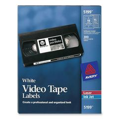 """Avery Video Tape Label - Permanent Adhesive - """"1.83"""" Width x 3.06"""" Length, 0.66"""" Width x 5.81"""" Length - Rectangle - Laser, Inkjet - White - Plastic - 300 / Pack"""