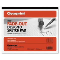 """Clearprint ClearPrint Isometric Grid Paper Pad - 30 Sheets - Printed - 20 lb Basis Weight - Letter 8.50"""" x 11"""" - White Paper - 30 / Pad"""