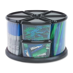 "Carousel Storage Organizer - 9 Compartment(s) - 11.1"" Height x 11.1"" Width x 6.6"" Depth - Desktop - Black - Plastic - 1Each"