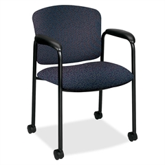 """HON Tiempo 4615 Mobile Guest Chair With Casters - Polyester Bluestone, Acrylic Seat - Steel Black Frame - Polyester Fabric, Acrylic - 20.25"""" Seat Width x 19.75"""" Seat Depth - 24.8"""" Width x 22.5"""" Depth"""
