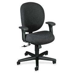 "HON Unanimous 7624 24-Hour Mid-Back Chair - Polyester Iron, Acrylic Seat - Black Frame - 5-star Base - Polyester Fabric, Acrylic - 19"" Seat Width x 18.25"" Seat Depth - 27.1"" Width x 36.5"" Depth x 40.9"