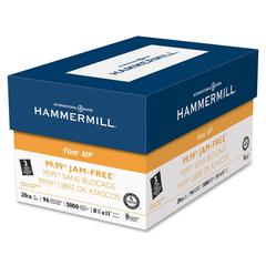 "Hammermill Punched Multipurpose Paper - Letter - 8.50"" x 11"" - 20 lb Basis Weight - 0% Recycled Content - 3 x Hole Punched - 96 Brightness - 5000 / Carton - White"