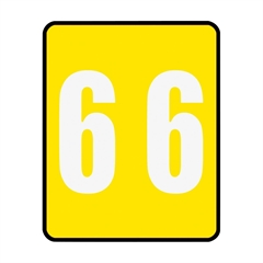 """Smead 67496 Yellow AM100RN Color-Coded Numeric Label - 6 - 1.50"""" Width x 1.87"""" Length - 250/Roll - Yellow - 250 / Roll"""