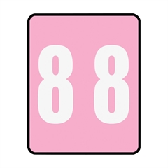 """67498 Pink AM100RN Color-Coded Numeric Label - 8 - 1.50"""" Width x 1.87"""" Length - 250/Roll - Pink - 250 / Roll"""