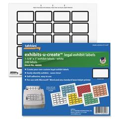 "Exhibit-U-Create Label - 1.62"" Width x 1"" Length - 20 / Sheet - Laser - White - 240 / Pack"