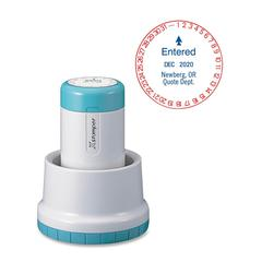 """ClassiX Pre-Inked Stamp - Custom Message/Date Stamp - 1.19"""" Impression Diameter - 50000 Impression(s) - Red, Blue - Recycled - 1 Each"""