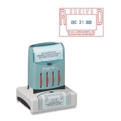 "Xstamper VersaDater Pre-Inked Stamp - Custom Message/Date Stamp - 1.31"" Impression Width x 2.12"" Impression Length - 50000 Impression(s) - Recycled - 1 Each"