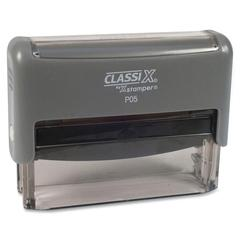 "Xstamper ClassiX Self-Inking Stamp - Custom Message Stamp - 0.31"" Impression Width x 2.75"" Impression LengthPlastic, Rubber - 1 Each"