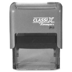 "ClassiX Self-Inking Stamp - Custom Message Stamp - 0.50"" Impression Width x 1.50"" Impression LengthPlastic, Rubber - 1 Each"