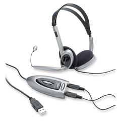 Compucessory Multimedia USB Stereo Headset - Stereo - Black, Silver - Mini-phone - Wired - Over-the-head - Binaural - 6.23 ft Cable