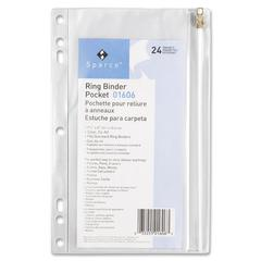 "Sparco Hole Punched Ring Binder Pockets - 6"" x 9.50"" Sheet - Ring Binder - Clear - Vinyl - 1 Each"