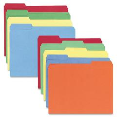 """Color-coding Top Tab File Folder - Letter - 8 1/2"""" x 11"""" Sheet Size - 1/3 Tab Cut - Assorted Position Tab Location - 11 pt. Folder Thickness - Assorted - Recycled - 100 / Box"""