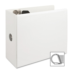 "Sparco Deluxe No-Gap Slanted Ring View Binder - 5"" Binder Capacity - Letter - 8 1/2"" x 11"" Sheet Size - 3 x D-Ring Fastener(s) - 2 Internal Pocket(s) - Vinyl, Polypropylene - White - 1 Each"
