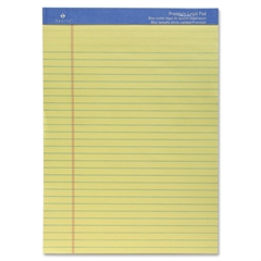 "Sparco Premium Grade Perforated Legal Ruled Pad - 50 Sheets - Printed - Wire Bound - Both Side Ruling Surface - 16 lb Basis Weight - 8.50"" x 11.75"" - Canary Paper - 1Each"