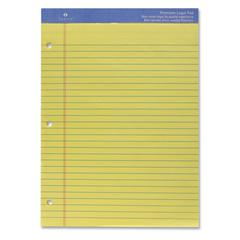 "Sparco Three-hole Punched Ruled Letter Pads - 50 Sheets - Printed - Wire Bound - Both Side Ruling Surface - 16 lb Basis Weight - 8.50"" x 11.75"" - Canary Paper - 1Each"