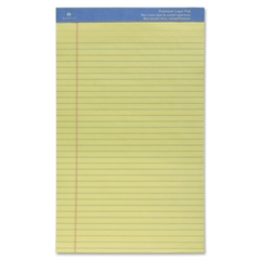 "Sparco Premium Grade Perforated Legal Ruled Pad - 50 Sheets - Printed - Wire Bound - Both Side Ruling Surface - 16 lb Basis Weight - Legal 8.50"" x 14"" - Canary Paper - 1Each"