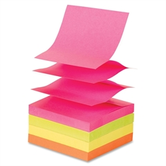 "Fanfold Pop-up Adhesive Neon Note Pads - 100 - 3"" x 3"" - Square - Unruled - Neon Assorted - Pop-up, Solvent-free Adhesive, Repositionable - 12 / Pack"