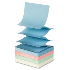 "Fanfold Pop-up Adhesive Pastel Note Pads - 100 - 3"" x 3"" - Square - Unruled - Pastel Assorted - Pop-up, Solvent-free Adhesive, Fanfold, Repositionable - 12 / Pack"