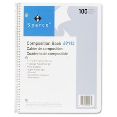 """Sparco Punched Spiral Composition Books - 100 Sheets - Spiral - Unruled - 16 lb Basis Weight - Letter 8.50"""" x 11"""" - White Paper - Chipboard Cover - Hard Cover, Punched, Subject - 1Each"""