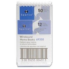 """Sparco Wirebound Memo Books - 50 Sheets - Printed - Wire Bound - 3"""" x 5"""" - White Paper - Chipboard Cover - 1Dozen"""