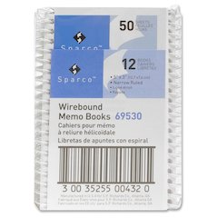 "Sparco Wirebound Memo Books - 50 Sheets - Printed - Wire Bound - 5"" x 3"" - White Paper - Chipboard Cover - 1Dozen"