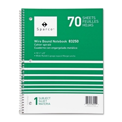 "Sparco Quality Wirebound Wide Ruled Notebooks - 70 Sheets - Printed - Wire Bound - 16 lb Basis Weight 8"" x 10.50"" - Bright White Paper - Assorted Cover - Chipboard Cover - 1Each"