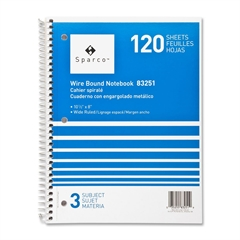 "Sparco Quality Wirebound Wide Ruled Notebooks - 120 Sheets - Wire Bound - Unruled - 16 lb Basis Weight 8"" x 10.50"" - Bright White Paper - Assorted Cover - Chipboard Cover - Resist Bleed-through, Subje"