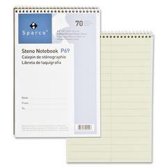 "Sparco Steno Notebooks - 70 Sheets - Wire Bound - Pitman Ruled - 6"" x 9"" - Green Paper - Chipboard Cover - Stiff-back - 1Each"
