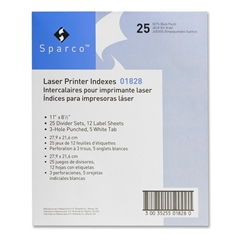 "Sparco Punched Laser Index Divider - 5 Tab(s) - Blank - 5 Tab(s)/Set - 8.50"" Divider Width x 11"" Divider Length - Letter - White - 25 / Box"