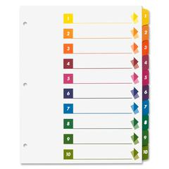 Sparco Table of Contents Index Dividers - 10 x Divider(s) - Printed 1-10 - 10 Tab(s)/Set - 3 Hole Punched - White - Multicolor - 24 / Box