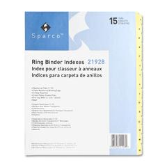 """Sparco Clear Plastic Numbered Tab Indexes - 15 Tab(s) - Printed 1-15 - 8.50"""" Divider Width x 11"""" Divider Length - Letter - 3 Hole Punched - Buff Paper Divider - Buff - 1 / Set"""