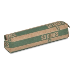 Sparco Flat $5.00 Dimes Coin Wrapper - 1000 Wrap(s) - 60 lb Paper Weight - Kraft - Green