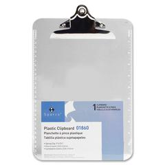 "Sparco Clipboard - 9"" x 12.50"" - Spring Clip - Plastic - Clear"